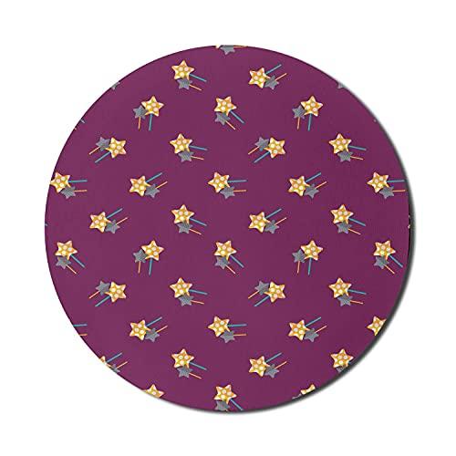 Geometrisches Mauspad für Computer, Bild von sternförmigen gepunkteten und gestreiften Bonbons mit Stöcken, rundes, rutschfestes, dickes, modernes Gaming-Mousepad aus Gummi, 8 'rundes, dunkles Magenta