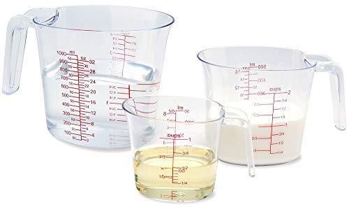 NPYPQ 3-Piece Measuring Cups Set, Plastic Measuring Cup of BPA-free with Plug-in Nesting Handle Stackable Design and Multiple Measurement Scales, Clear