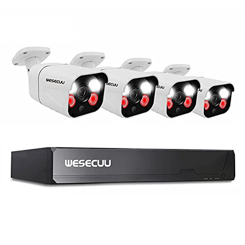 Poe Security Camera System, 4 Poe IP Camera, 5mp Nvr 8 Channel, CCTV Surveillance Wired, WESECUU Home Security Camera System with App, Motion Sensor, Floodlight, Audio, Outdoor, Indoor, No Hard Drive