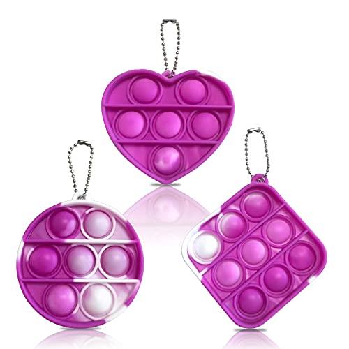 LucaSng Mini Push Pop Bubble Fidget Sensory Toys - 3 Pcs Mini Pop On It Fidget Toy Keychain Silicone Squeeze Toy Keychain, Sensory Therapy Toys for Autism Stress Anxiety, Office & Desk Toys(Purple)