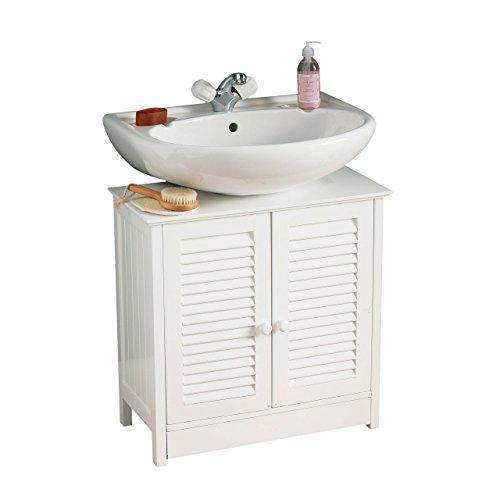 Premier Housewares wastafelmeubel voor de badkamer, dubbele deur, 60 x 60 x 30 cm, wit