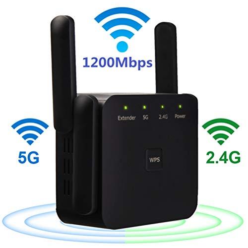 YOUKUKE WiFi Range Extender, AC 1200 Mbps + 300Mbps WiFi Extender Booster, Repetidores de Red de Banda Dual 5G + 2.4G (Función WPS/Puerto Ethernet/Cuatro Antenas), Versión Actualizada