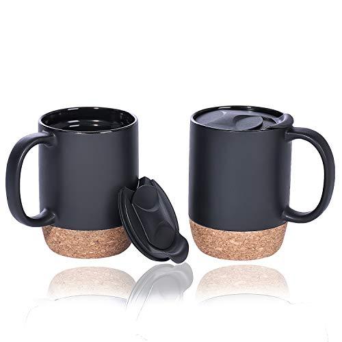 Coffee Mug Set of 2, 15 OZ Large Coffee Mugs with Handle for Tea, Ceramic Mug with Cork Bottom and Lid, Coffee Cups for Women and Men (Black)