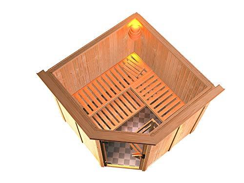 SAUNELLA Sauna mit Ofen | Bausatz Heimsauna - Saunakabine Maße: 210 x 210 x 202 cm | Saunaofen Komplett Sauna Zubehör Eckeinstieg | Saunaofen mit ext. Steuerung 9 kW