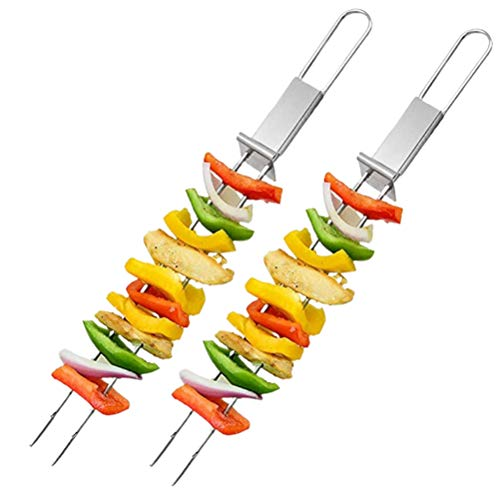 2 pinchos de acero inoxidable, reutilizables de acero inoxidable para barbacoa, parrillas de metal largas de doble punta, para camping o barbacoa familiar de 32,5 x 2,8 cm