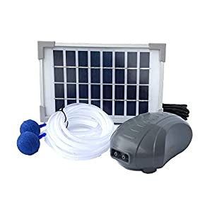 AEO Solar Powered Air Pump Kit, Two Airing Stones, 3LPM Air Pump & 2.5W Solar Panel for Fish Pond, Aquaculture, Hydroponics, Bubbleponics