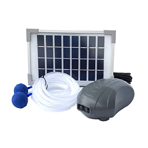 AEO Solar Powered Air Pump Kit, two airing stones, 3LPM Air Pump & 2.5W Solar Panel for Fish Pond, Aquaculture, Hydroponics, Bubbleponics