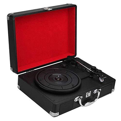 IW.HLMF Tocadiscos de gramófono Vintage Retro, Tocadiscos Vintage Reproductor de 3 velocidades Reproductor de Discos LP Teléfonos móviles Reproducción de música Diseño de Maleta