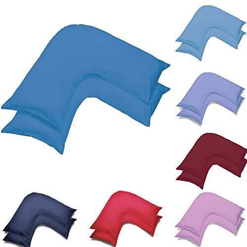 Juego de dos fundas de almohada ortopédicas en forma de V   Fundas de almohada ortopédicas para embarazo, maternidad y lactancia, par de fundas de almohada en forma de V (verde azulado)
