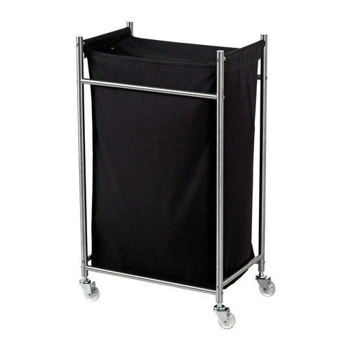 IKEA GRUNDTAL - Bolsa para ropa sucia con ruedas, acero inoxidable, negro - 70 l