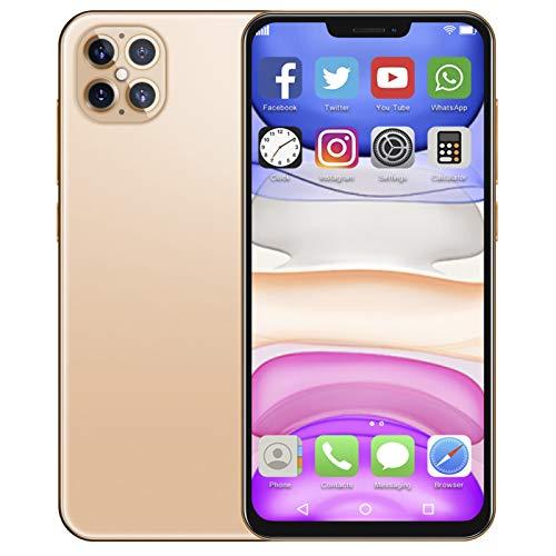 Celulares desbloqueados con Pantalla LCD de 6,6 Pulgadas, Tarjeta SIM Dual Smartphone Soporte para Android 10.0 Desbloqueo Facial de teléfono móvil con Tarjeta de Memoria 128G, 6 + 64G(Gold)
