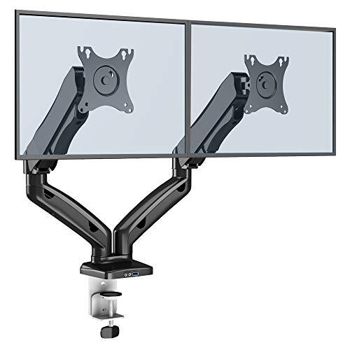 BONTEC Monitor Halterung 2 Monitore, mit Gasgestützte Vollbewegliche Arm, Höhenverstellbare Schwenkbare Ergonomische für 13-27 Zoll LCD Bildschirme, mit USB 3.0, Max Tragfähigkeit 6,5 kg, VESA 75/100