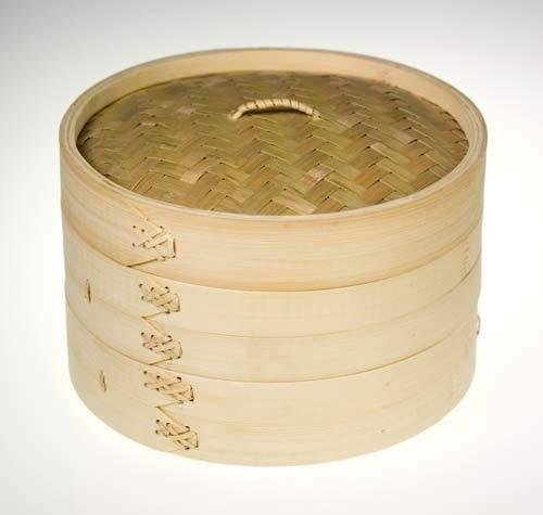 """8\"""" Bambusdämpfer/Bambus-Dampfkorb mit 2 Ebenen, inkl. Deckel und 25 frei Dim Sum Blätter/Papier - 3-Teilig 20cm Bamboo Steamer Set"""