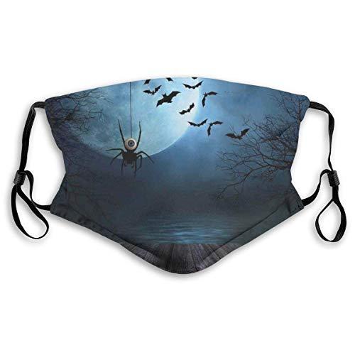 Mode Winddichte Maske, Misty Lake Szene Rostige Holzdeck Spinne Augapfel und Fledermäuse mit Ominous Skyline