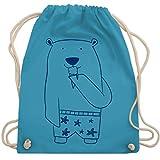 Shirtracer Bunt gemischt Kinder - Süßer Bär in Badehose - Unisize - Hellblau - turnbeutel bär - WM110 - Turnbeutel und Stoffbeutel aus Baumwolle