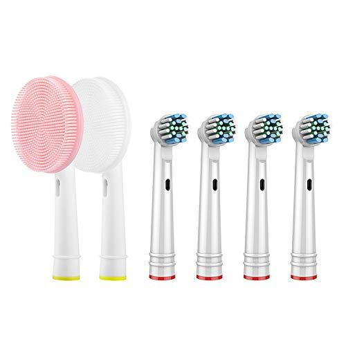 Ricambi per Spazzolino Elettrico Compatibile con Oral B Braun, 6 Pezzi Testine di ricambio per spazzolino elettrico compatibile con Oral-B Braun (Spazzola pulizia del viso + 4 testine)