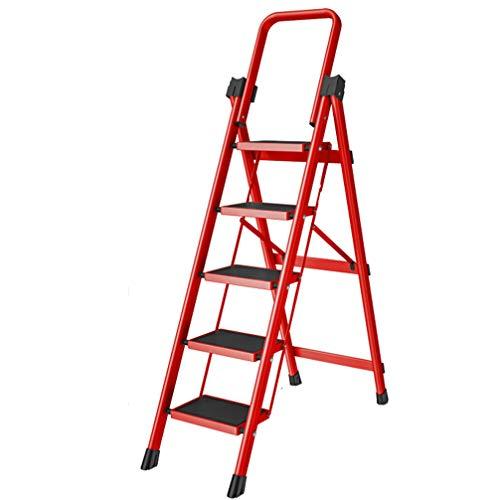 ZKHD Haushaltsklapp Fischgrät-Leiter, Innen Multifunktionale Verdickten Leiter Rolltreppe, Tragbare Trittleiter Teleskop Kleine Treppe,Rot,Style 3