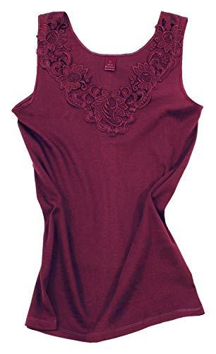 Camiseta para mujer, de algodón peinado con encaje extragrande, sin costuras laterales...
