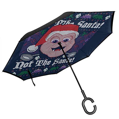 Dinosaurs Not The Santa Baby Sinclair Weihnachts-Regenschirm mit gestricktem Muster, doppelschichtig, umgekehrter Regenschirm für Auto, umgekehrt, zusammenklappbar, mit C-förmigen Händen – leicht und winddicht – ideales Geschenk