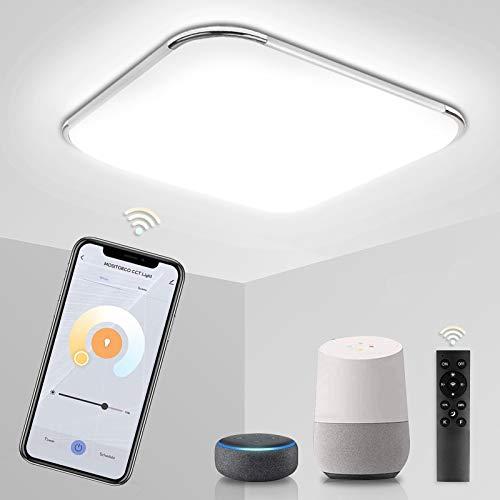 Hengda 24W Smart Alexa LED Deckenleuchte, Dimmbar Deckenlampe mit Fernbedienung, Kompatibel mit Alexa Google Home, Lichtfarbe Einstellbar, Deckenlampe für Wohnzimmer Schlafzimmer Küche