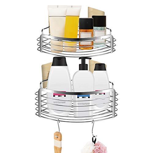 Doucheplank zonder boren, hoekplank douchemand plank, roestvrij staal zelfklevend wandplank badkamer organizer Caddy doucheplank hoek opbergmand voor badkamer keuken, met 4 stickers 2 stuks haken