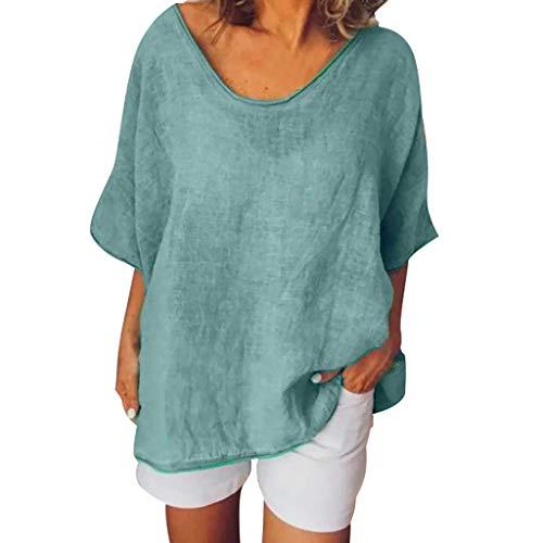 YEBIRAL Damen Leinenblusen Frauen Frühling Sommer Lässige Rundhals Kurzarm T-Shirt Lose Tunika Top Oberteil Hemdbluse Große Größe (Grün, EUR-44/CN-3XL)