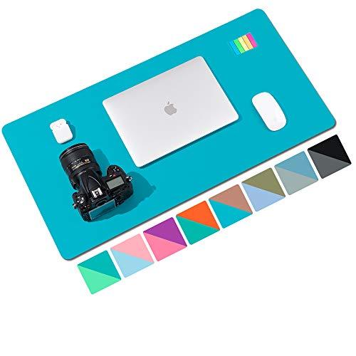 Alfombrilla de escritorio,alfombrilla de escritorio multifuncional de cuero PU de doble cara,alfombrilla de ratón suave e impermeable para oficina/hogar (80x40cm,Rosa oscuro/Azul cielo)