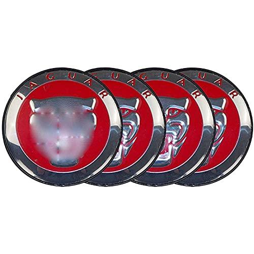 Casquillo del Eje del Centro del Borde De La Rueda del Coche, Embellecedor De Aluminio Insignia Pegatina Polvo Tuning Cubre Emblemas 3D Mejor Ajuste para Jaguar, 60
