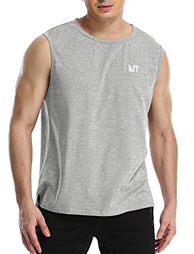NITAGUT Men's Cotton Tank Tops Casual Classic Sleeveless Tops Workout Bodybuilding Muscle T Shirt Gray, Large