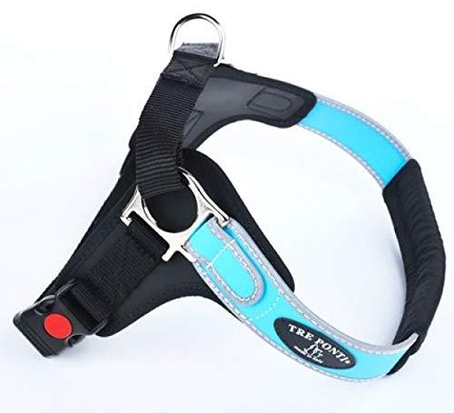 TRE Ponti Geschirr Forza mit Reflektierenden Rand Hellblau 65-80 cm bis ca. 20-30 kg