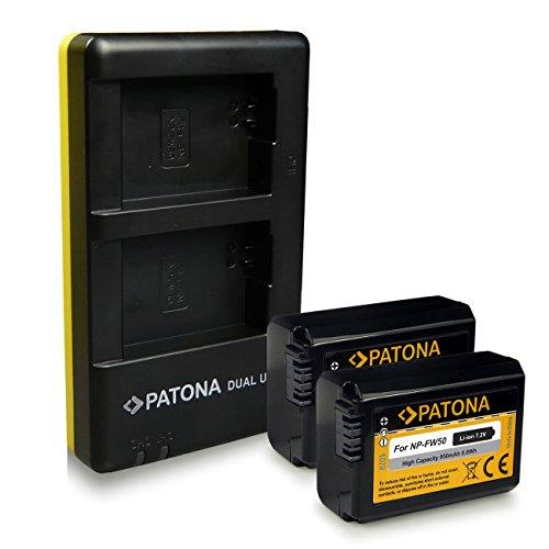 PATONA Caricabatteria doppio + 2x Batteria NP-FW50 compatibile con Sony NEX-3 NEX-5 NEX-7 NEX-C3 A33 A55
