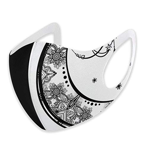 Comfortable CIMIMO Comfortable Windproof MaskMask,Paisley Floral Moon Crescent Gem Figures Ethnic Astrology Inspired Design Print,Facial Decorations for Unisex,S