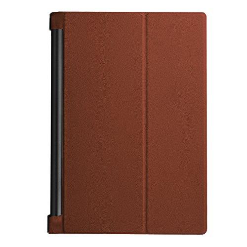 Yobby Hülle für Lenovo Yoga TAB3 Plus 10.1 YT-X703/YT3-X90L/X90F,Ultradünn Leder Tasche Folio Stand Schutzhülle [Eckenschutz] Auto Schlaf/Wach Funktion-Braun