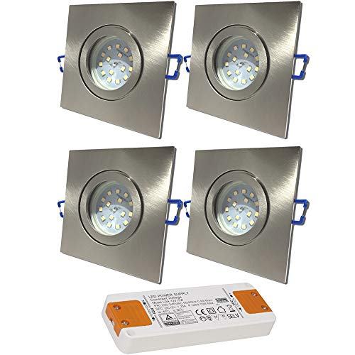 LED Bad Einbaustrahler 12V inkl. 4 x 5W SMD LM Farbe Eisen geb. IP44 LED Deckenspots Neptun Eckig 4000K mit Trafo