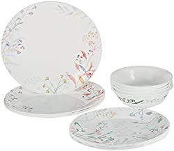 Corelle Vitrelle 18 Pieces Moteverde Dinnerware Set, White/Orange, W 30.0 x H 28.8 x D 14.8 cm