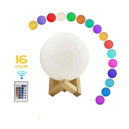 Preisvergleich Produktbild 13CM LED Mond Lampe 16 RGB Farbe 3D Druck Mondlicht mit Fernbedienung & Touch Control Tragbare Dekorative Wiederaufladbare Nachtlicht für Kinder Liebhaber Geburtstag Weihnachtsgeschenke