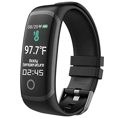 Smart Watch, CNPGD Fitness Tracker for Men Women, Bracelet Band with 24 Hour Body Temperature Heart Rate Monitor Blood Pressure Blood Oxygen(SpO2) Waterproof smartwatch for iPhone Android Phones