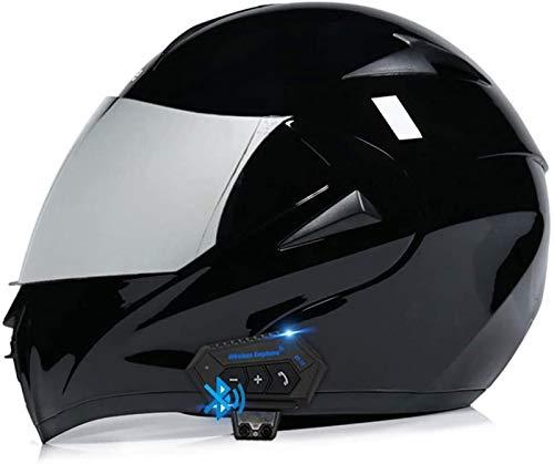 ZLYJ Bluetooth Casco para Motocicleta,Casco Modular Casco Cara Completo Casco Moto Integral con Anti-Niebla Doble Visera, Manos Libres MP3 FM, ECE Homologado L,XL