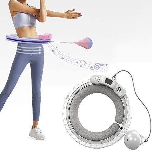 QLGRXWL Smart Hula Hoop,USB Bluetooth Musik Smart Hula Hoop,Für Bauch Und Taille,Schneller Fettverbrennung Hula Hoop,Grau,s:38x5cm