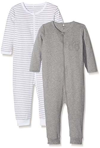 NAME IT Baby-Jungen NMNNIGHTSUIT 2P Zip Mel NOOS Schlafstrampler, Mehrfarbig (Grey Melange), 98 (2er Pack)