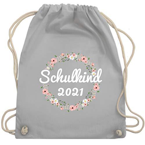 Shirtracer Einschulung und Schulanfang Geschenk - Schulkind 2021 Blumenkranz - Unisize - Hellgrau - schulkind - WM110 - Turnbeutel und Stoffbeutel aus Baumwolle
