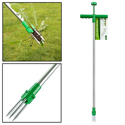 AMOS AM48718 Weeder Twister Push Twist & Pull Claw Garden Lawn Easy Root Remover Killer Grabber Long Handled Lightweight Tool, Silver