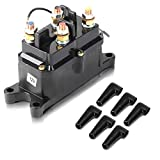 Issyzone 12V 250A Winch Solenoid Relay Contactor, Off-Road Winch Rocker Thumb Switch with 6 Protecting caps for ATV UTV 2000-5000lbs Winch
