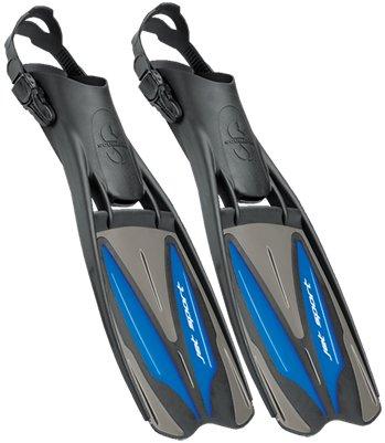 Scubapro Jet Sport Fins, Scuba Pro Diving Fin, Black Blue - Medium (8-10)