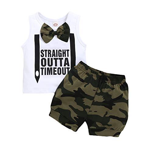 T TALENTBABY - Conjunto de ropa para bebé de manga corta con estampado de Lil 'King Tops, camiseta con capucha + pantalones cortos de camuflaje para verano (2 unidades) Blanco 3-4 Años