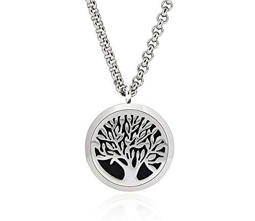 Tree of Life Aromatherapy Essential Oil Diffuser Necklace Pendant, with 24 Chain + 8 Washable Pads, Hypo-allergenic 316L Surgical Stainless Steel Jewelry Gift Set