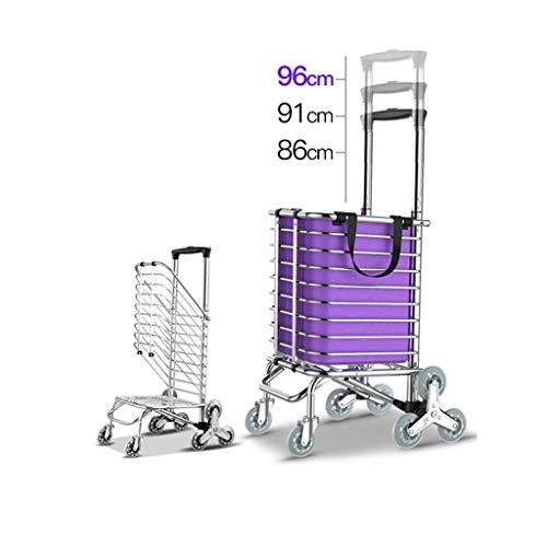 ZJNHL JIAN trolley 8 wielen trapsteiger trolley van aluminium driewielers van de familie Vans gemakkelijk inklapbaar - violet