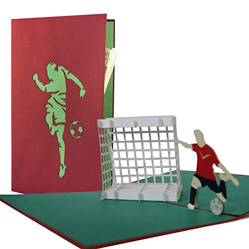 H04 Fußball Pop-Up-Karte für Kindergeburtstag als Glückwunschkarte oder Gutscheinkarte