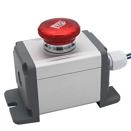 mxuteuk 22mm Edelstahl Metall verriegelung Not-Aus-Schalter 12-220V 3A 1NO 1NC Schalter Station Box mit Anschlussstecker,MXU-DT-JH