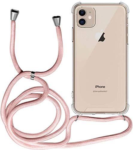 Funda para iPhone 11, Transparente Silicona Carcasa con Cuerda para Apple iPhone 11, Suave TPU Case con Cuerda para Colgar Ajustable Anti Golpes Protector Case - Rosa de Oro
